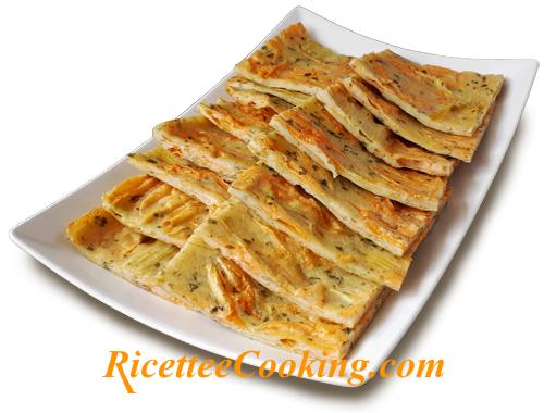 Focaccia di fiori di zucca pastellati al forno