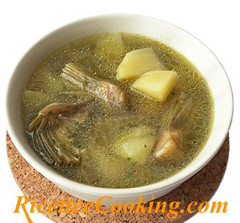Zuppa di patate, carciofi e topinambur